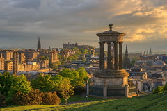 Golden hour over Edinburgh (MilesGrayPhotography (AnimalsBeforeHumans)) Tags: sonyfe55mmf18za nd a7rii sonya7rii ilce7rm2 britain dugaldstewartmonument caltonhill castle dusk edinburgh europe edinburghcastle evening glow goldenhour historic historicscotland iconic kirk landscape landscapephotography monument memorial formatthitech scottmonument outdoors old oldtown oldcaltoncemetery photography ruins royalmile scotland scenic skyline sunset sony scottish scottishlandscapephotography spring town trees spire uk unitedkingdom unesco zeiss