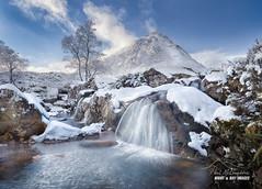 Buachaille Etive Mor - Wintered (macdad1948) Tags: winter scotlandglencoe highlands waterfall water mountains etive river snow woods buachailleetivemor kingshouse glencoe