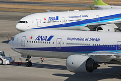 JA755A, Boeing 777-300, All Nippon Airways, Tokyo Haneda (ColinParker777) Tags: ja744a boeing 773 b777 b777300 777300 777381 777 b773 aircraft airliner airplane plane taxy taxi pair twins duo two pw pratt whitney engines pushback ana all nippon airways airlines air japan tokyo haneda nh hnd rjtt domestic inspiration blue tarmac apron parking canon 5d3 5dmk3 5dmkiii 5diii 100400 l lens zoom telephoto mkii mk2 markii mark2 pro spotters spotting planespotting