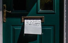Message... (+Pattycake+) Tags: woodwork writing doorway ©patriciawilden2019 message gold window green brass handles paper panasonicgm1