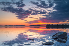 Spring morning just before the sunrise. (teetaira) Tags: sunrise lake kallavesi kuopio finland cloud sky water stone morning spring