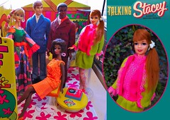 TALKING STACEY JOINS THE PARTY (ModBarbieLover) Tags: stacey barbie doll talking 1968 mattel toy ken christie brad mod fashion fancy green pink party house vintage