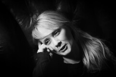 Stef (RoryO'Bryen) Tags: face woman girl halflight dark portrait scanned 50mm film argentique noiretblanc cambridge copyrightroryo'bryen roryo'bryen analoguephotography leicam3 composer musician stefconner