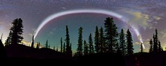 Brightest #Steve Arc Panorama (John Andersen (JPAndersen images)) Tags: steve alberta astro aurora beaverpond canon fall forest golden highway66 kananaskis kananaskislake milkyway morninglake mountains outside panorama pickets reflections shoreline