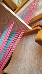 Correct shed for steps 1, 4, 7.  Three shaft weaving on rh loom (Sweet Annie Woods) Tags: