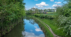 Newton Harcourt (Peter Leigh50) Tags: fujifilm fuji xt2 gbrf shed class 66 railway railroad rail rural train trees track sky clouds newton harcourt grand union canal water reflection landscape may