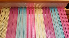 Front heddle sleying for 3-shaft weaving on 3 shaft loom. (Sweet Annie Woods) Tags: