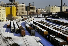 Freight Cars in Winter (en tee gee) Tags: winter trains railroad freightcars snow yard newyork 1988