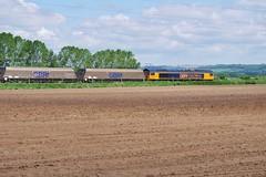Through Fresh Fields (JohnGreyTurner) Tags: br rail uk railway train transport diesel engine locomotive freight 66 class66 shed coal hoppers santon lincolnshire