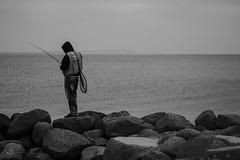 Fishing (graufuchs) Tags: denmark europe dänemark blackandwhite monochrome blackwhite fujifilm fujixh1 fujinon fujinon50mmf2 50mmf2 sea water fishing bridge