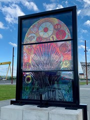 Glass of Thrones No. 6: The Iron Throne, between Titanic and Olympic Slipways, Belfast (John D McDonald) Tags: iphone appleiphone iphonexr appleiphonexr belfast eastbelfast queensisland titanicquarter countydown codown down northernireland ni ulster geotagged glassofthrones gameofthrones stainedglasswindow stainedglass debrawenlock ironthrone theironthrone throne