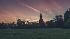 St. John the Divine. (Ian Emerson (Thanks for all the comments and faves) Tags: stjohnthedivine church sunset clouds spire weathervane planes vapourtrails trees meadow canon6d countryside villagelife nottinghamshire outdoor silhouette field wildflowers colstonbassett