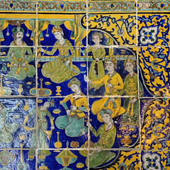 Persian Tiles Mural 2 (█ Slices of Light █▀ ▀ ▀) Tags: billiards room casa grande persian tiles mural prince musicians dancers maidens islamic art castillo hearst castle 赫斯特 赫斯特城堡 william randolph san simeon california 加州 加利 福尼亞 usa sony rx1rm2 rx1rii rx1r ii m2 square crop