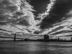 Penns Landing Skyscape (dweible1109) Tags: cloudscape clouds scenic landscape blackwhite monochrome bw benjaminfranklinbridge skyline skyy sky delawareriver pennsylvania philadelphia pennslanding