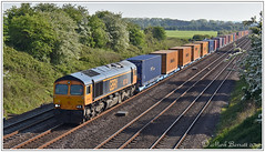 66749 Brumber Hill 14 05 2019 (Mark's Train pictures) Tags: class66 gbrf gbrailfreight gbrf66 gbrfclass66 class66shed burmahill intermodal intermodalrail railfreight freight freighttrain 66749 4n08