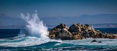 Splash on the Rocks (CDay DaytimeStudios w /1 Million views) Tags: ca pebblebeach water 17miledrive pacificcoasthighway bluesky california highway1 montereyca pacificgrove carmelca ocean pacificcoast beach sky seascape coastline landscape rocks montereybay