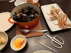Seafood Feast at Home (kevincrumbs) Tags: portland southeastportland home food mussels crablegs