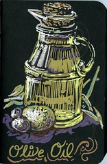 Olive Oil (Life Imitates Doodles) Tags: oliveoil blackpaper metallicpen