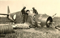 GERMANS LOOKING OVER SHOT DOWN BLOCH FIGHTER FROM FRANCE (DREADNOUGHT2003) Tags: wwii warpictures warplanes warplane fighters fighter raf usaac luftwaffe france