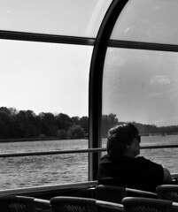 (eelend) Tags: black white berlin spring sunlight ship person trees forest water fluid lake