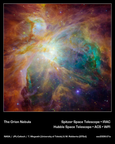 Heart of the Orion Nebula, annotated