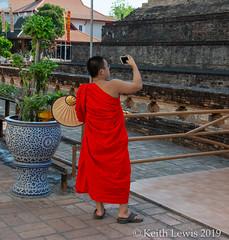 Mobile  Monk (keithhull) Tags: monk mobilephone watchediluang chiangmai thailand 2019 explore