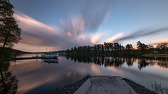 Cloudxplosion (jarnasen) Tags: fuji xt20 tripod 1024mm longexposure le nisi nd1000 sky clouds reflections jetty boat ship trees nature landscape landskap lake borås öresjö nordiclandscape mood evening sunset extreme geo geotag gallery copyright järnåsen jarnasen