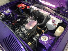 Engine bay with Rotary tank and accessories fitted up (andrew edgar .......) Tags: mazda rx4 rotary brap zoom car sedan purple blacktown sydney