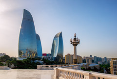 BAKU, AZERBAIJAN - JULY 24:City view of the capital of Azerbaijan, on July 24, 2014, with great modern architecture. (liseykina) Tags: baku azerbaijan tower city flame architecture view landmark towers travel building famous destination center capital downtown cityscape mosquer square park flametowers modern viewpoint bakuazerbaijantowercityflamearchitectureviewlandmarktowerstravelbuildingfamousdestinationcentercapitaldowntowncityscapemosquersquareparkflametowersmodernarchitecturefamousviewpoint original big stock