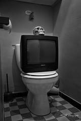 La télé c'est de la merde (arrif-mehdi) Tags: tv tele television eyes mort dead manipulation shit merde media crane message reality realite meh photographie machination