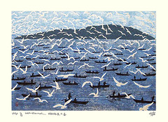 Gull (Japanese Flower and Bird Art) Tags: bird gull laridae gyojin murakami modern woodblock print japan japanese art readercollection