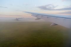 landing (kuuan) Tags: sony rx100iii airplane flight fog landing landscape austria wing morning sonyrx100iii moon horizon sunrise
