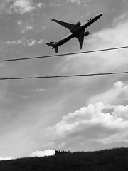 A second ago... (Different≠Same) Tags: sky clouds hill dynamic minimal blackwhite landscape monochrome mono bw planespotting airbus airplane luft airline