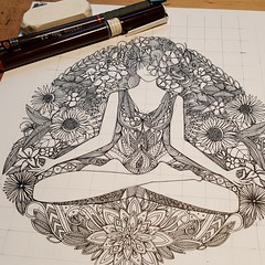 lotus garden WIP (Scrummy Things) Tags: spoonflower illustration wip workinprogress sharonturner scrummy ink pen flowers floral lotus yoga woman sitting pose wellness fitness