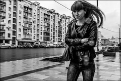 17drg0296 (dmitryzhkov) Tags: urban city everyday public place outdoor life human social stranger documentary photojournalism candid street dmitryryzhkov moscow russia streetphotography people man mankind humanity bw blackandwhite monochrome rain umbrella bad weather