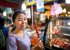 Young woman holding sugar coated tomato in Taiwan night market (Apricot Cafe) Tags: imgr21190 asia asianandindianethnicities millennialgeneration songshan taipei taiwan taiwaneseethnicity wonderlust adventure capitalcities carefree casualclothing charming cheerful city coated cultures display eating enjoyment food foodstall freedom glazed happiness kebab leisureactivity lifestyles lightingequipment longhair lookingatcamera night nightmarket oneperson oneyoungwomanonly outdoors people photography portrait realpeople shopping shortsleeved smiling springtime sugar syrup tomato toothysmile tourism tourist traveldestinations waistup weekendactivities youngadult youthculture