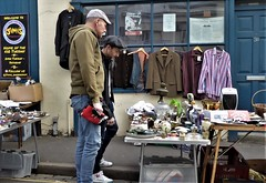 Saturday Street Market. (ManOfYorkshire) Tags: secondhand goods things recycling modern oldfashioned street market brighton sussex uk england gb saturday onceaweek clothing glass pots guys hats