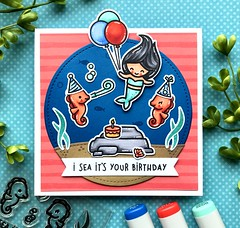 I Sea it's your Birthday (The Queen's Scene) Tags: thequeensscene card birthdaycard cardmaking lawnfawn colorthrowdown seahorsinaround birthday papercrafting mermaid mermaidforyou