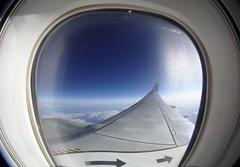 Airplane Window View (right) (dvanzuijlekom) Tags: 2019 airline airplane airtravel b738 boeing7378k2 canonef815mmf4lfisheyeusm canoneos5dmarkiii clouds flying hv5741 horizon lucht may phhsf raam sky transavia uitzicht view vleugel vliegen vliegtuig window wing wolken