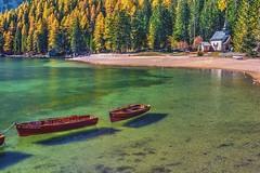Alpe Pragas (giannipiras555) Tags: lago colori natura trentino altoadige braies alberi paesaggio chiesa barche acqua riflessi