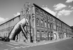 @phlegm at the Eye Works monochrome (PDKImages) Tags: sheffield sheffieldstreetart streetart urbanart urban pasteup art city walls