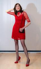 Red dress with lace. (sabine57) Tags: crossdressing transvestism crossdress crossdresser cd tgirl tranny transgender transvestite tv travestie drag pumps highheels stockings nylons dress reddress littlereddress handbag purse choker