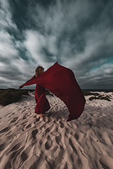 Red (massimobarbagli) Tags: landscape landscapes lanzarote canarie canaries beach seascape red woman fineart fine art playa