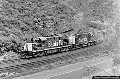 Gators on the Grande (jamesbelmont) Tags: utahrailway santafe alco rsd15 rsd12 lasco rednarrows spanishforkcanyon utah drgw riogrande coal monochrome railroad railway train locomotive