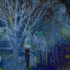 Moonlit Variation (Lemon~art) Tags: blue woman umbrella tree street moon moonlight manipulation