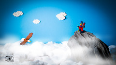 Over the top (The Aphol) Tags: afol lego legography legophotography minifigs minifigures toy toyphotographers toyphotography hiking mountain mountains eagle fly sky outdoor sport clouds cotton setup