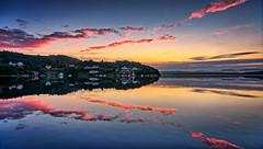 Røyksund, Norway (Vest der ute) Tags: g7x norway rogaland karmøy røyksund sea water landscape reflections mirror houses earlymorning trees boat boathouse sky clouds softlight sunrise fav25 fav200