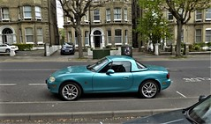 Mazda MX5 With Hard Top. (ManOfYorkshire) Tags: mazda mx5 car auto automobile motoring japanese hardtop roof added metallic paint hs03oka 2003 parked onstreet hove sussex england gb uk 1839cc petrol engine power