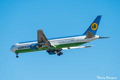 [CDG] Uzbekistan-Airways Boeing 767-300ER _ UK-67007 (thibou1) Tags: thierrybourgain cdg lfpg spotting aircraft airplane nikon d810 tamron sigma uzbekistan boeing b767300 uk67007 boeing767 boeing767300er b763 landing b767300er