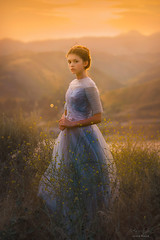 Kingdom Come ({jessica drossin}) Tags: jessicadrossin portrait gold light orange blue dress face eyes hair tiara pricess rule moutains sky grass tall rural wwwjessicadrossincom